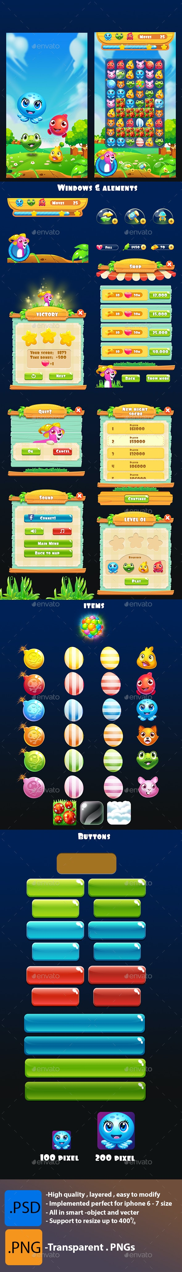 Pets Game - Full Assets - Game Kits Game Assets