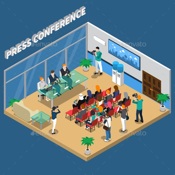 Press Conference Isometric Composition