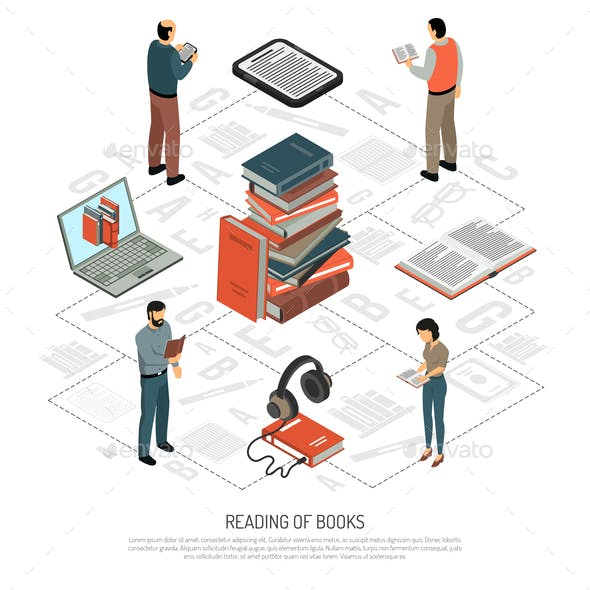 Book Reading Isometric Flowchart