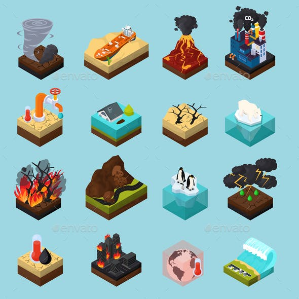 Global Warming Orthogonal Isometric Icons Set