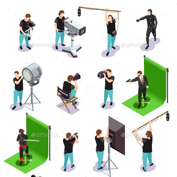 Cinematograph Isometric Icons Set
