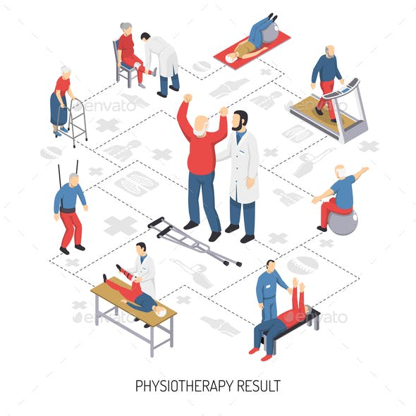 Rehabilitation Care and Physiotherapy Icons