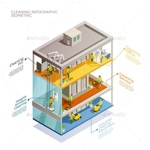 Cleaning Infographic Isometric Layout