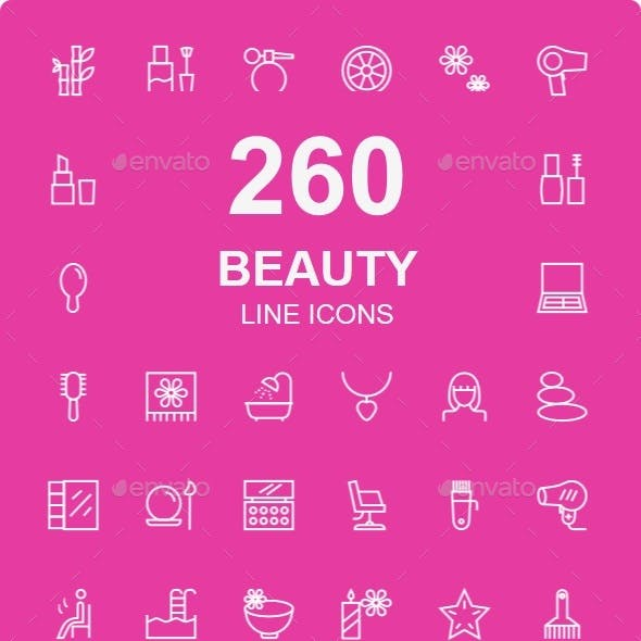 250+ Beauty and Spa Line Icons