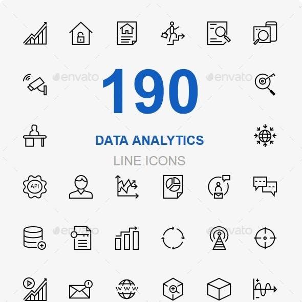 Data Analytics and Data Storage line icons
