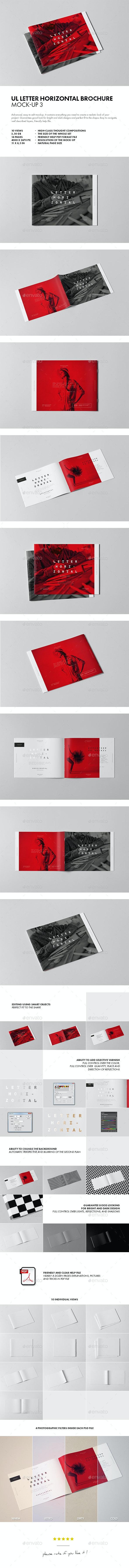 US Letter Horizontal Brochure Mock-up 3 - Brochures Print