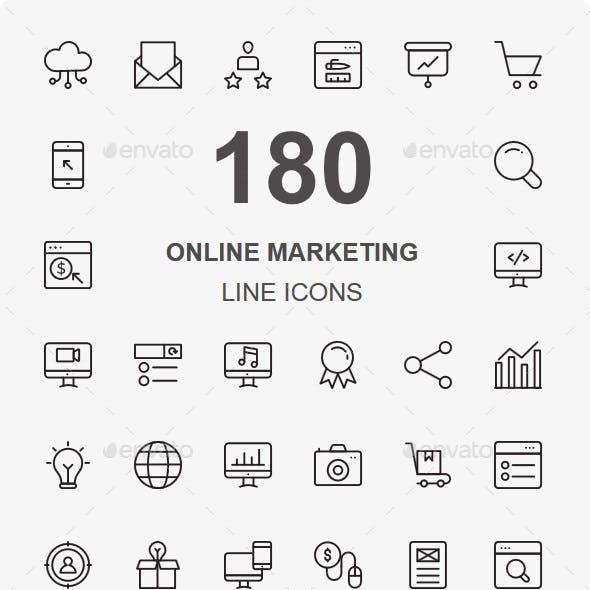 Online Marketing Line Icons