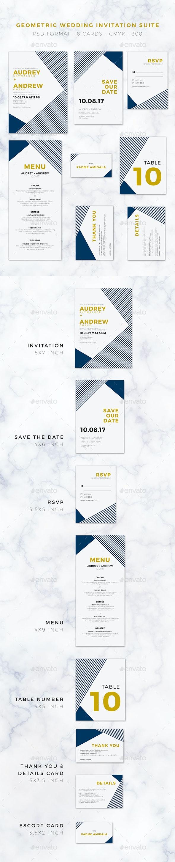Geometric Wedding Invitation Suite - Weddings Cards & Invites