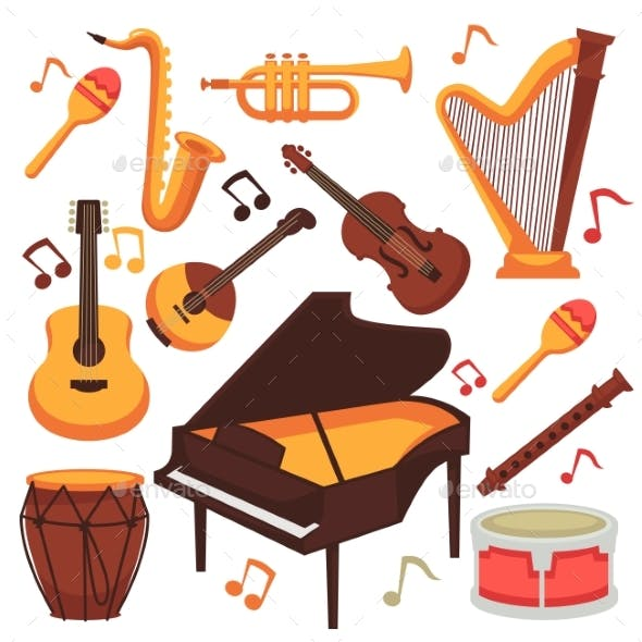 Musical Instruments and Music Notes Vector