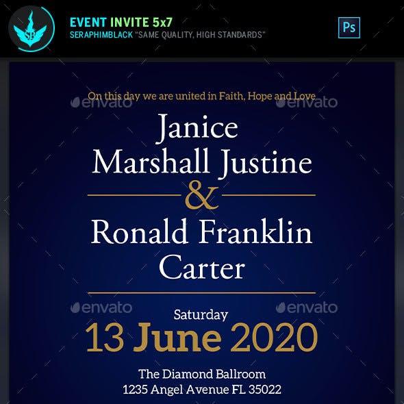 African Blue Wedding Invite Template
