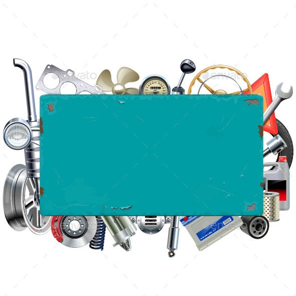 Vector Rusty Billboard with Car Parts - Industries Business