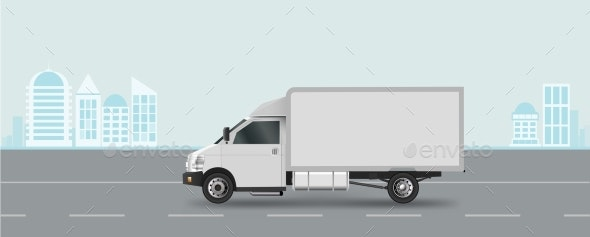 White Truck on Road. Cargo Van Vector Illustration - Man-made Objects Objects