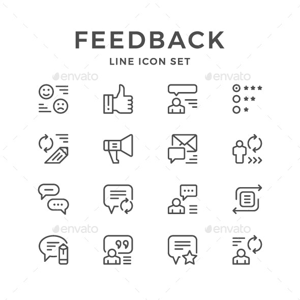 Set Line Icons of Feedback
