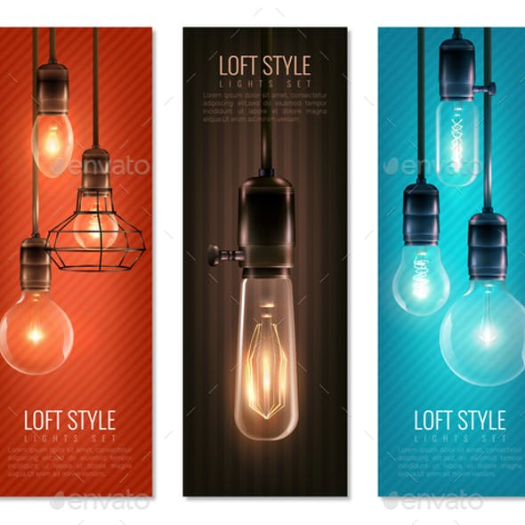 Light Bulbs Vintage Style Vertical Banners