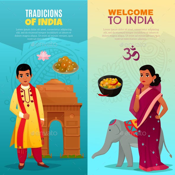 India Vertical Banners Set