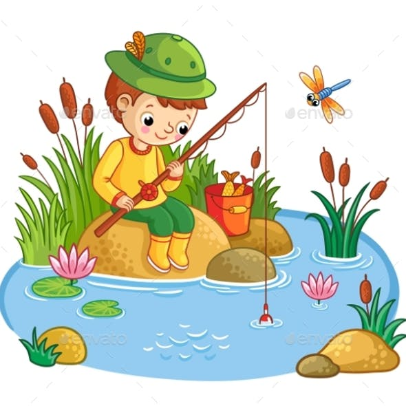 The Boy Sits and Catches Fish in a Pond