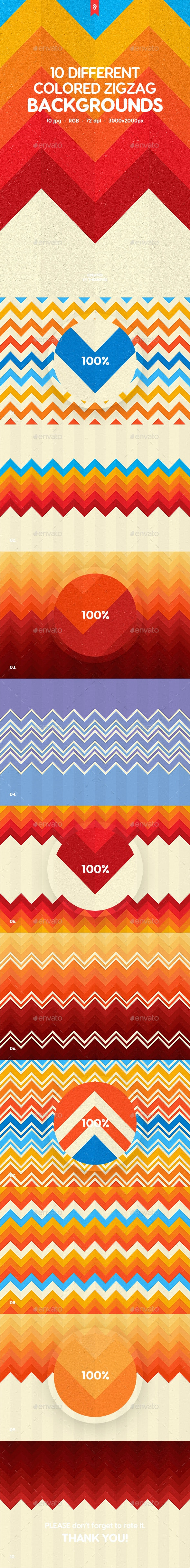 Abstract Flat Multicolored Zigzag Backgrounds