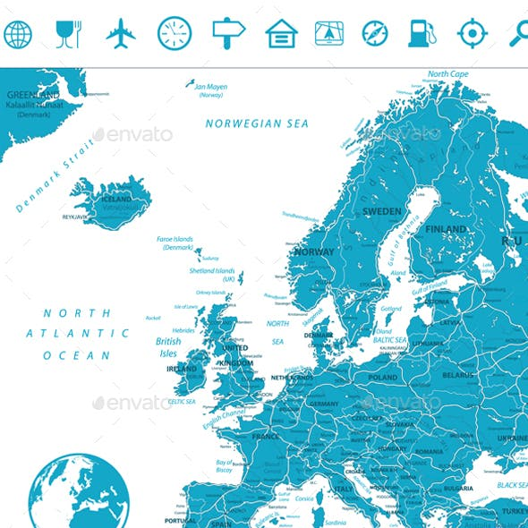 Europe Road Map and Navigation Icons