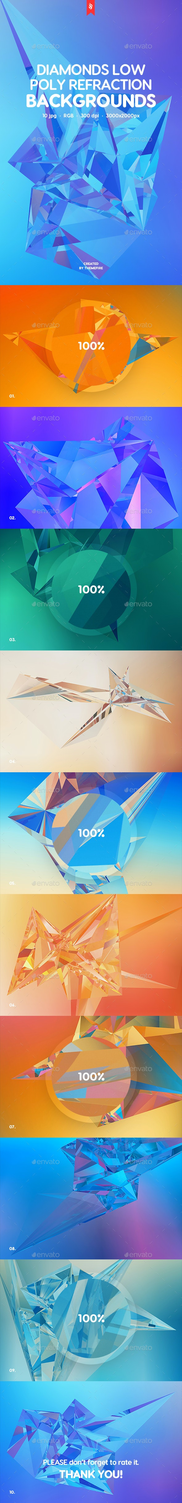 Diamonds - Low Poly Refraction Backgrounds - Abstract Backgrounds