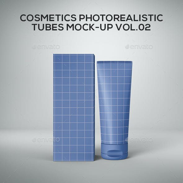 Cosmetics Photorealistic Tubes Mock-Up Vol.02