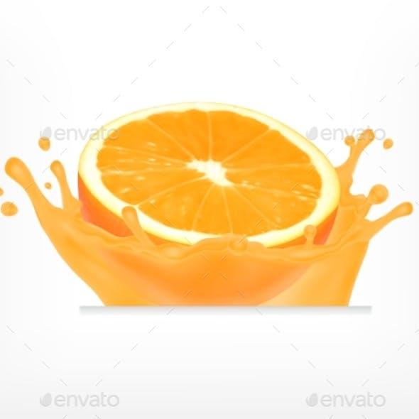 Orange Fruit with Juice Splash