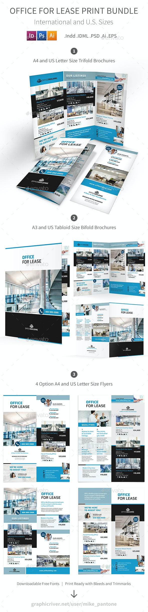 Office For Lease Print Bundle - Informational Brochures