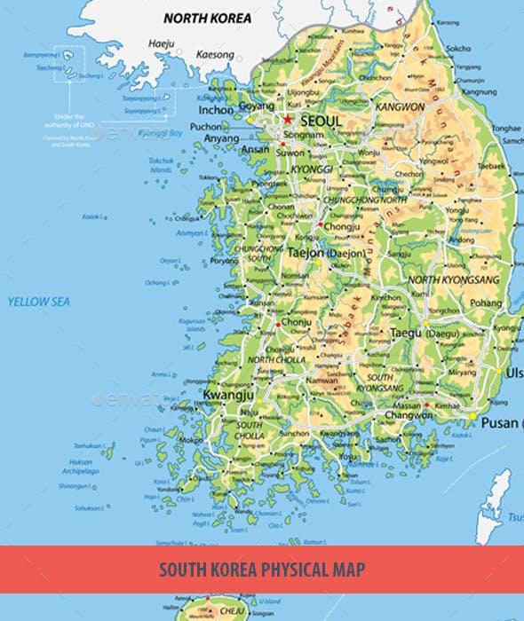 South Korea Physical Map by Cartarium | GraphicRiver