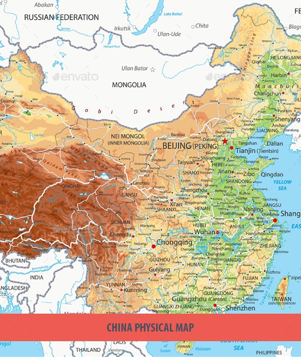 China Physical Map by Cartarium | GraphicRiver on