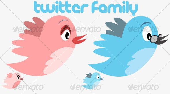 Twitter Family - Characters Vectors