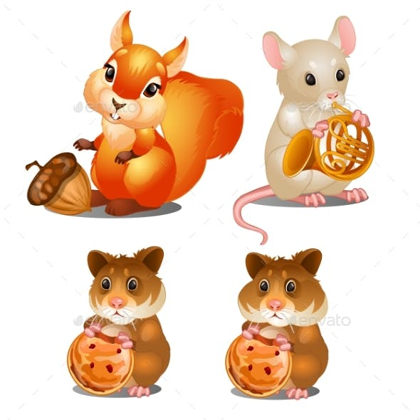 Squirrel, Mouse and Hamsters. Fairy Animals