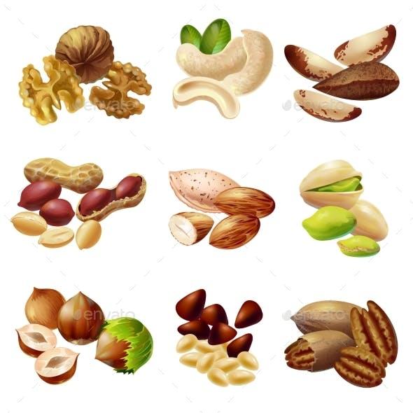 Cartoon Healthy Nuts Set