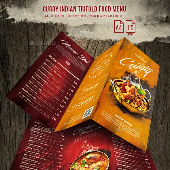 Curry Indian Trifold Food Menu US Letter & A4