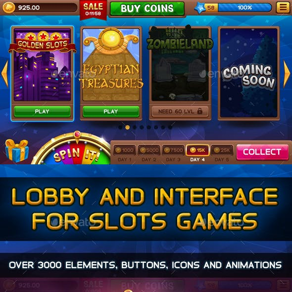 Lobby with Bonus Wheel and GUI for Slots Games