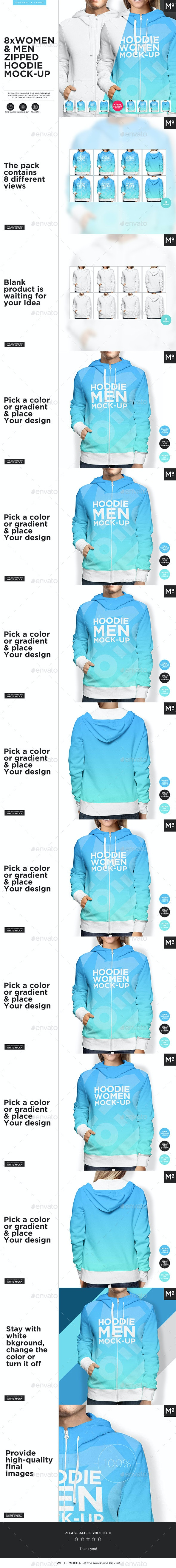 Women and Men Zipped Hoodie Mock-up - Miscellaneous Apparel