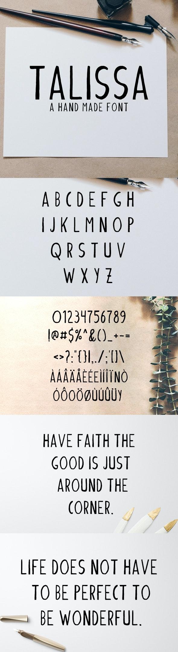 Talissa A Handmade Font - Hand-writing Script
