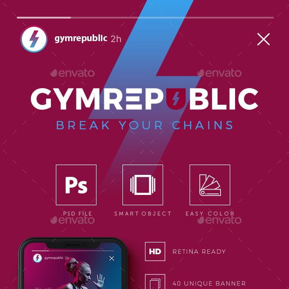 Gymrepublic - Fitness GYM Instagram Stories Banner Templates