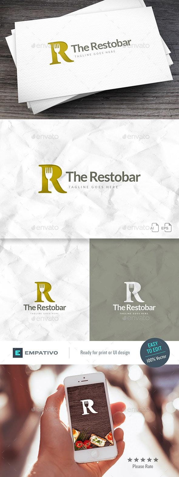 Restobar R Letter Logo Template - Letters Logo Templates