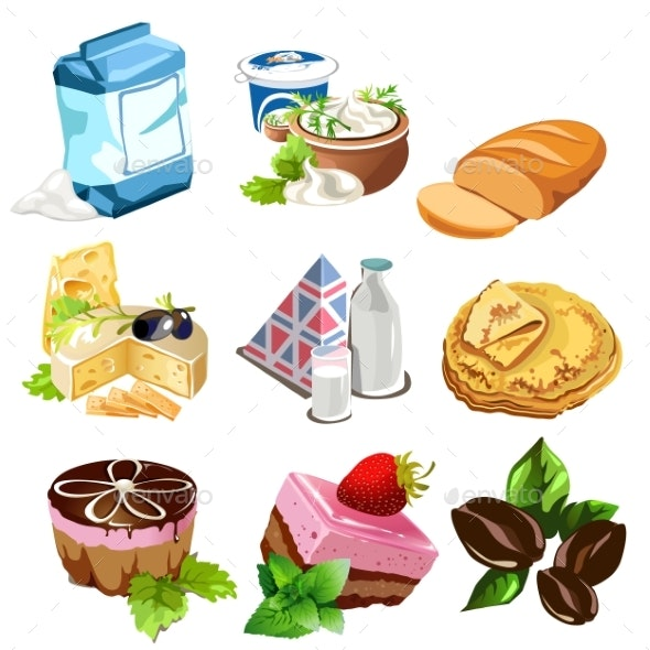 Desserts, Dairy Products, Coffee Beans and Other - Food Objects