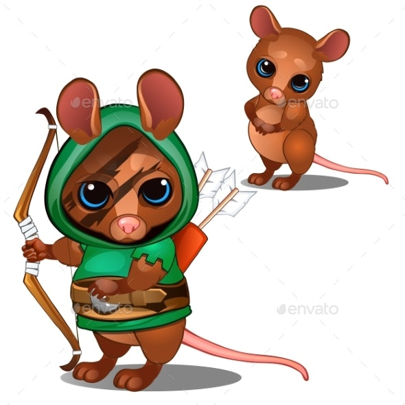 Mouse Archer in Green and Face with Battle Color - Animals Characters