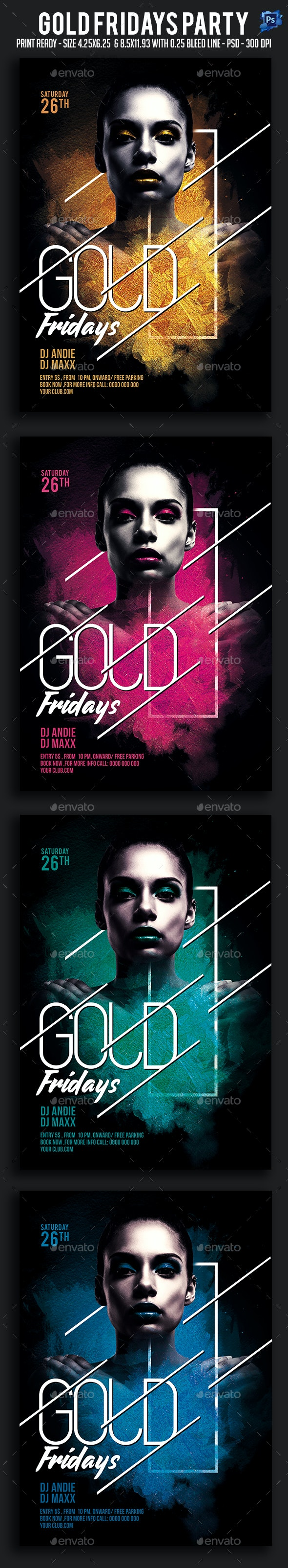 Gold Fridays Party Flyer - Clubs & Parties Events