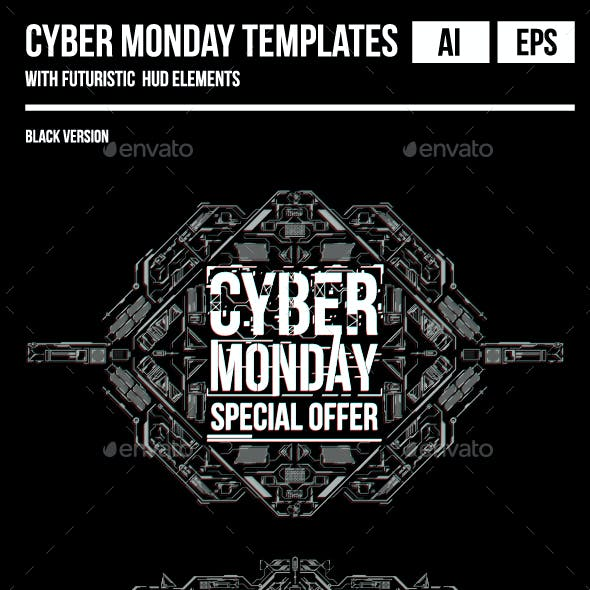 Cyber Monday Templates with Futuristic Background