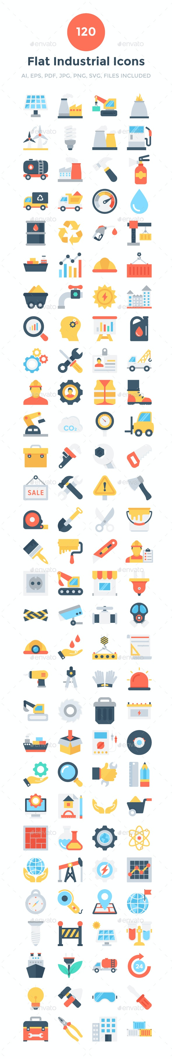 120 Flat Industrial Icons - Icons