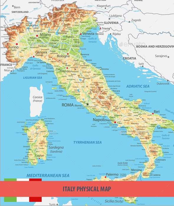 Italy Physical Map - Travel Conceptual