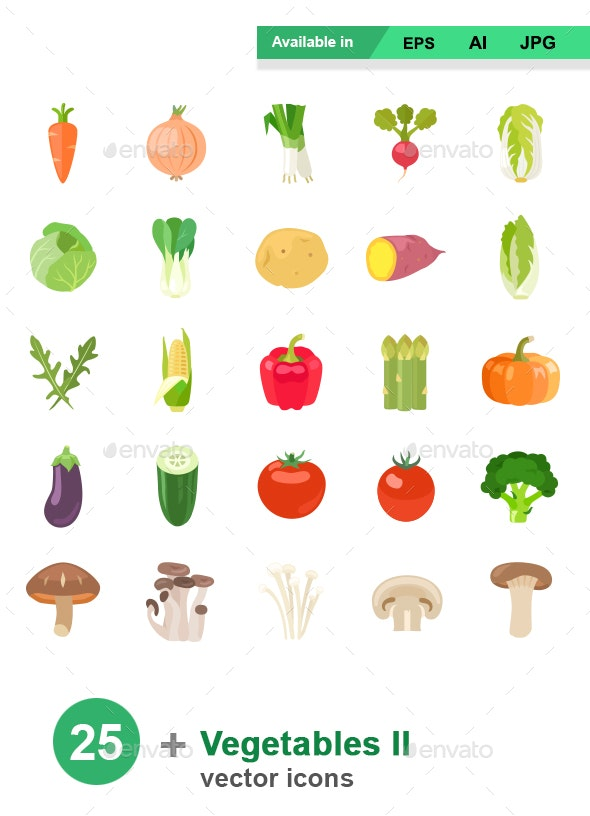 Vegetables II color vector icons - Food Objects