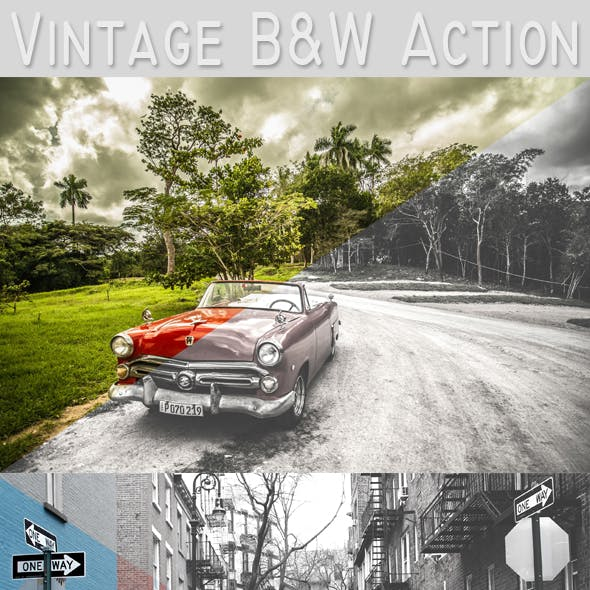 Vintage Black and White Action
