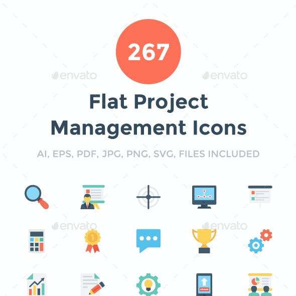 267 Flat Project Management Icons