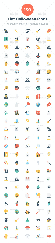 130 Flat Halloween Icons - Icons