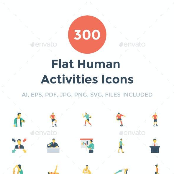 300 Flat Human Activities Icons