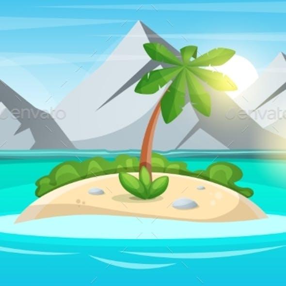 Island Cartoon. Sea and Sun.