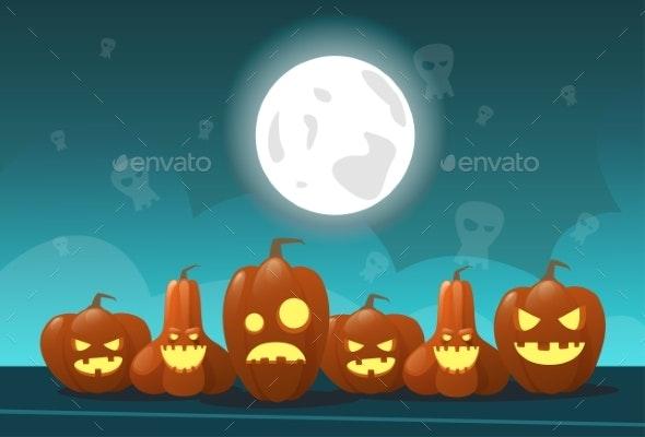 Happy Halloween Banner Different Pumpkins - Halloween Seasons/Holidays